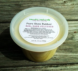 Handfiltered, unrefined shea butter